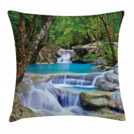 Nature  Throw Pillow Case Rocks in Waterfall Lake Cushion Cover