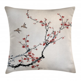 Floral  Throw Pillow Case Asian Style Art Birds Cushion Cover