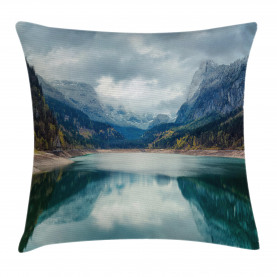 Mountain  Throw Pillow Case Alpine Lake Sky Forest Cushion Cover
