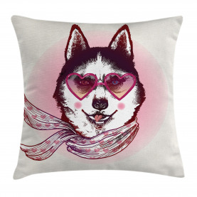 Animal  Throw Pillow Case Hipster Husky Dog Hearts Cushion Cover