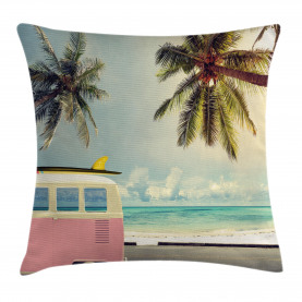 Colorful  Throw Pillow Case Retro Minivan on Beach Cushion Cover