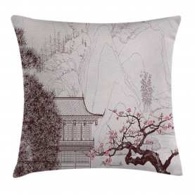 Asian  Throw Pillow Case Sakura Trees and Mountain Cushion Cover