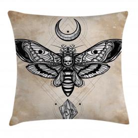 Fantasy  Throw Pillow Case Hawk Moth Skull Magic Cushion Cover