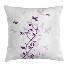 Purple  Throw Pillow Case Violet Tree Blossoms Cushion Cover