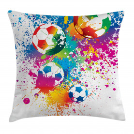 Soccer  Throw Pillow Case Colorful Splashes Balls Cushion Cover