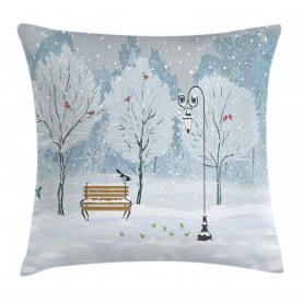 Schnee im Park Weihnachtsbäume Kissenbezug