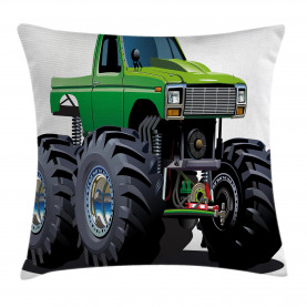 Cartoon  Throw Pillow Case Monster Pickup Truck Cushion Cover