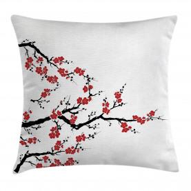 Cherry Blossom Botanic Throw Pillow Cushion Cover