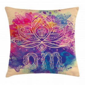 Yoga  Throw Pillow Case Boho Lotus Flower  Cushion Cover