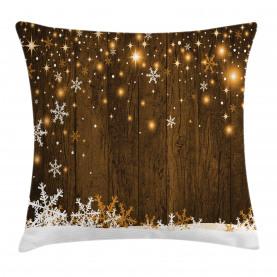Holz und Schneeflocken Kissenbezug