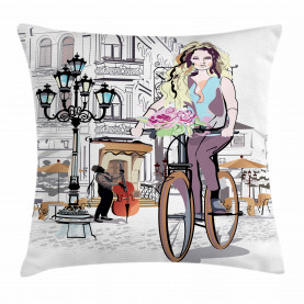 Girls  Throw Pillow Case Lady Rides Bicycle Roses Cushion Cover