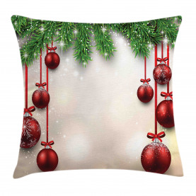 Christmas  Throw Pillow Case Red Balls Ribbons Cushion Cover