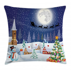 Christmas  Throw Pillow Case Winter Landscape Cushion Cover