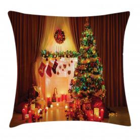 Christmas  Throw Pillow Case Tree Festive Presents Cushion Cover