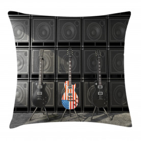 Music  Throw Pillow Case Digital Rock Guitar Cushion Cover