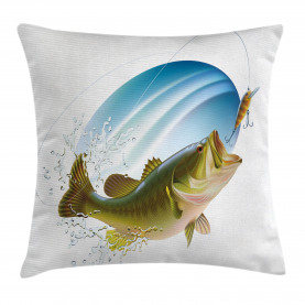 Fish  Throw Pillow Case Wild Life in Nature Theme Cushion Cover