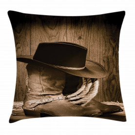 Wild Cowboy Hat Wooden Throw Pillow Cushion Cover