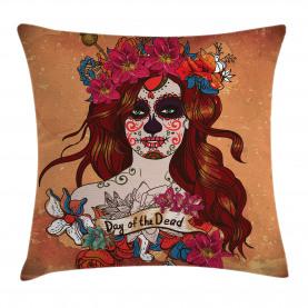 Mexican Skull Throw Pillow Cushion Cover