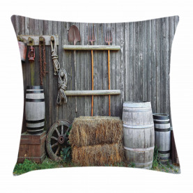 Western Wooden Barn Throw Pillow Cushion Cover