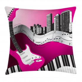 City  Throw Pillow Case Urban Bass Guitar Rock  Cushion Cover