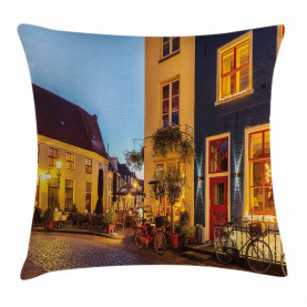 Dutch Street with Houses Throw Pillow Cushion Cover