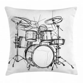 Schlagzeuger-Gekritzel-Kunst Kissenbezug