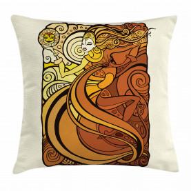 Tribal Woman with Sun Throw Pillow Cushion Cover
