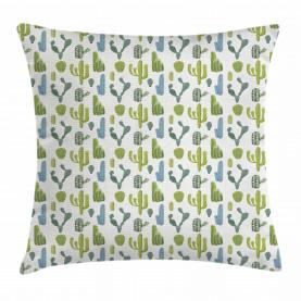 Hand Drawn Cacti Motif Throw Pillow Cushion Cover