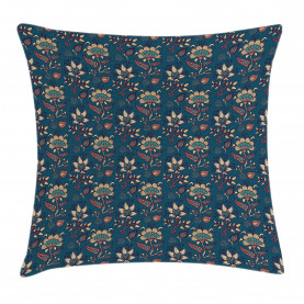 Vintage Asian Flowers Throw Pillow Cushion Cover