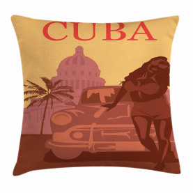 Woman with Sunglasses Retro Throw Pillow Cushion Cover