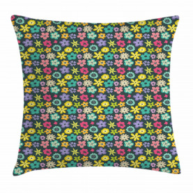 Scribbled Floral Buds Throw Pillow Cushion Cover