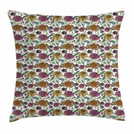 Bloomed Japanese Flower Throw Pillow Cushion Cover