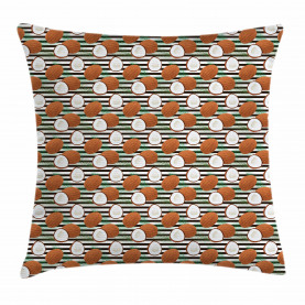 Tropical Fruit on Stripes Throw Pillow Cushion Cover