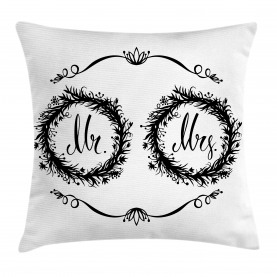 Ornate Floral Wreaths Throw Pillow Cushion Cover