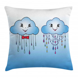 Doodle Clouds with Rain Throw Pillow Cushion Cover