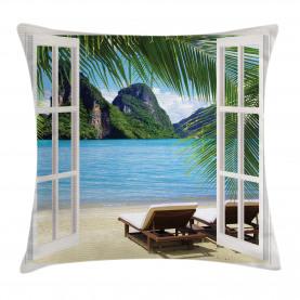 Beach  Throw Pillow Case Palms and Ocean Summer Cushion Cover