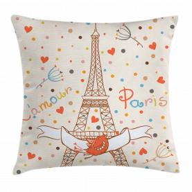 Eiffel-Liebes-Vögel Kissenbezug