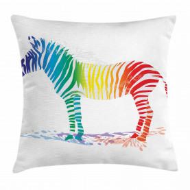 Zebra-Regenbogen-Farben Kissenbezug