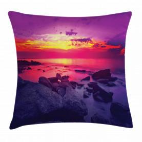 Sonnenuntergang über dem Meer bewölkt Kissenbezug