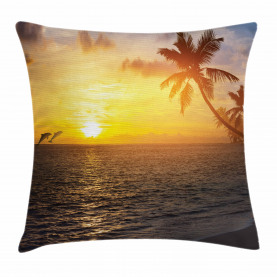 Palme-Insel-Sonnenuntergang Kissenbezug