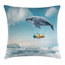 Verträumte Ansicht Wal-Wolken Kissenbezug