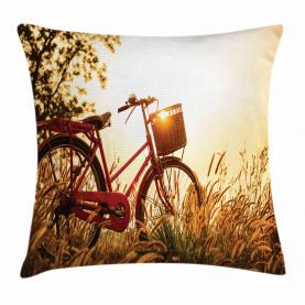 Fahrrad in den Sepia-Ton ländlichen Kissenbezug