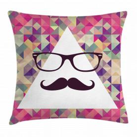 Hipster Schnurrbart Brille Kissenbezug