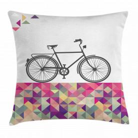 Fahrrad über Farbmosaik Kissenbezug