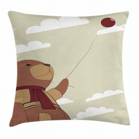 Teddy Bear Holding Balloon Throw Pillow Cushion Cover