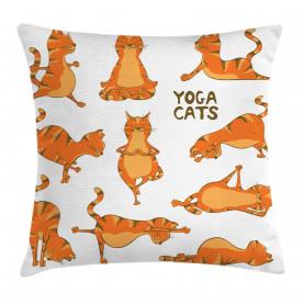 Katzen, die Yoga-Haltung-Übung tun Kissenbezug