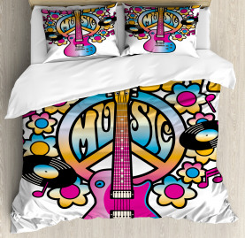 Colorful  Duvet Cover Peace Love Vinyl Music Print