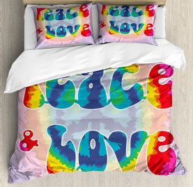 Hippie  Duvet Cover Youth Peace Love Tie Dye Print