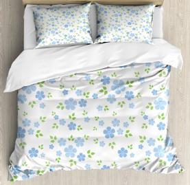 Small Wild Flowers Blue Duvet Cover Set