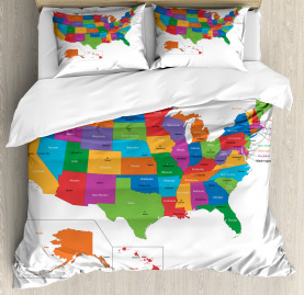 Colorful  Duvet Cover USA Map with States Print
